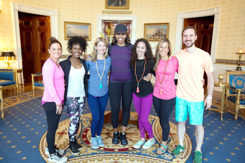 Courtesy photo Faith Hunter, a GSU graduate and a yoga instructor, stands with Michelle Obama and others in the White House.