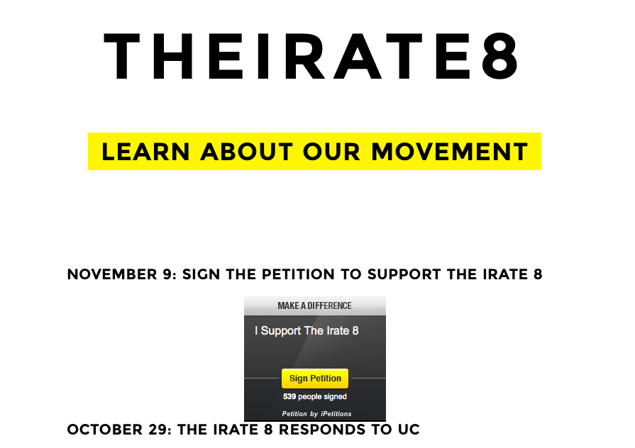 Irate8 Demands Action at UC