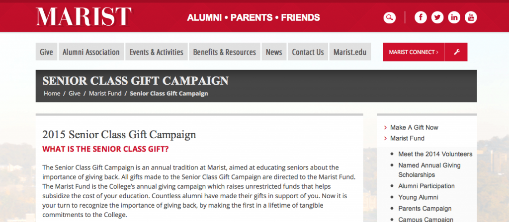 Senior class gift campaign seeks support