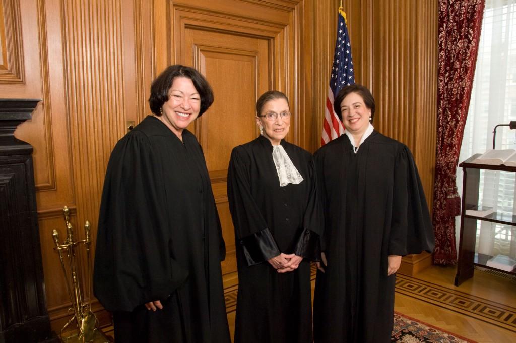 Supreme Court Justices Sotomayor, Ginsburg and Kagan