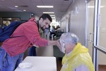 Students take a break to pie their professors