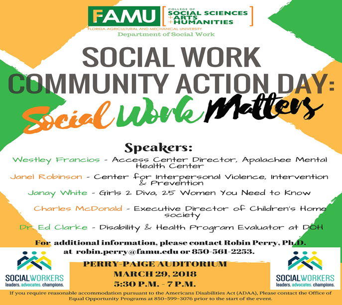 Department of Social Work to host  Community Action Day