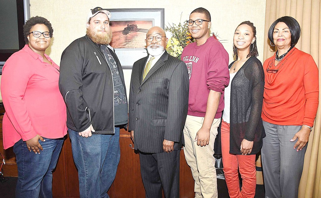 GLENN LEWIS/The Yearbook Grambling State University President Willie D. Larkin (3rd from left) congratulates the  GSU Honda Campus All-Star Challenge team (quiz bowl squad). Team members include (from left) Jharrayne McKnight, John Carter, Dave Fields, Jasmine Ayatey and Charlette Favors (coach).
