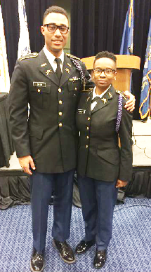 Courtesy photo Courtney Heard, with incoming 17th Regiment Commander Todd Dixon, on March 12.