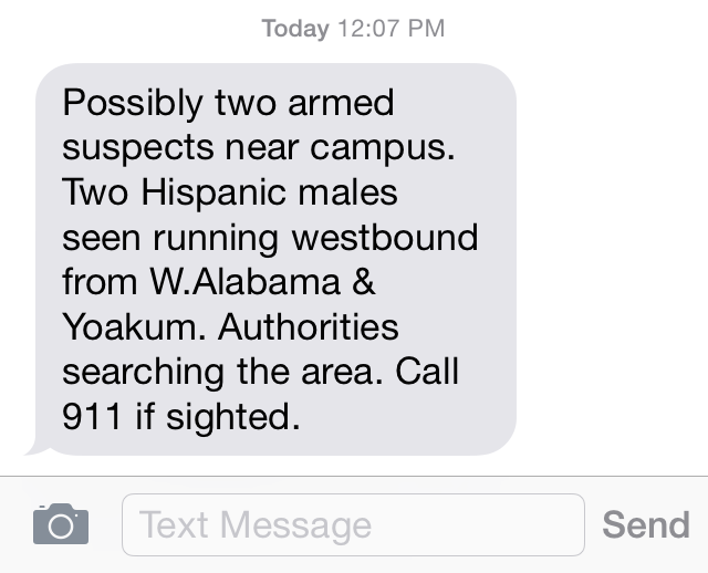 HOUSTON POLICE ARREST TWO ARMED SUSPECTS ON UST CAMPUS