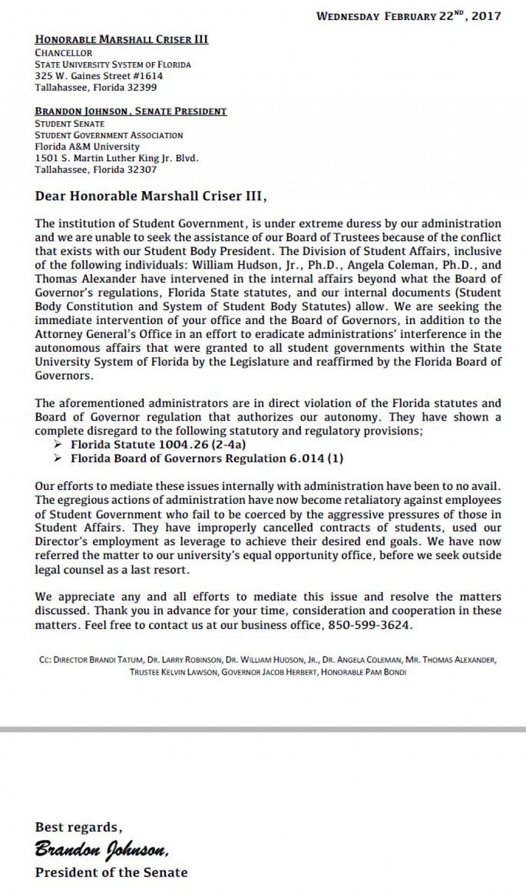 Update famuan receives sga letter to chancellor criser today the famuan received the formal letter that was dated for feb 22 the letter is below spiritdancerdesigns Gallery