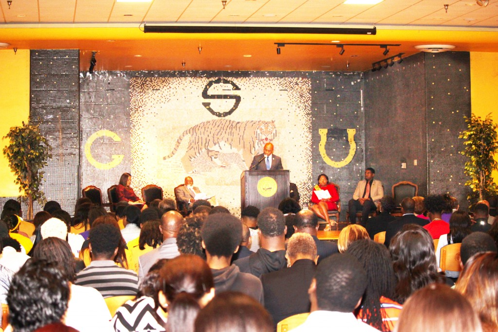 KANESHA DOUGLAS/The Gramblinite James Cole, deputy secretary of the Department of Education, talks to Grambling State students and other audience members about the place that HBCUs hold in producing African American degree holders.